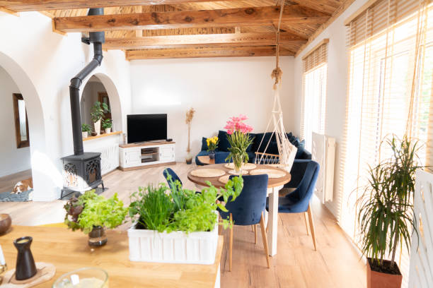 Scandinavian, boho, classic home with wooden details. Real photo.Cosy interior.